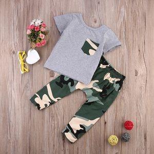 Baby Boy Toddler Boy Camouflage Setup - Gray